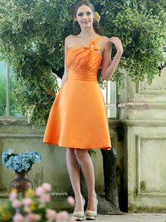 $86.70 Cute A-line Stretch Satin One shoulder with flower Knee-length Orange Sash #Cheap #Bridesmaid #Dresses