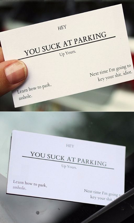 You suck at parking business cards offensive business cards you suck at parking business cards offensive business cards variety of insults from poor parking to horrible body odor aegisgears colourmoves