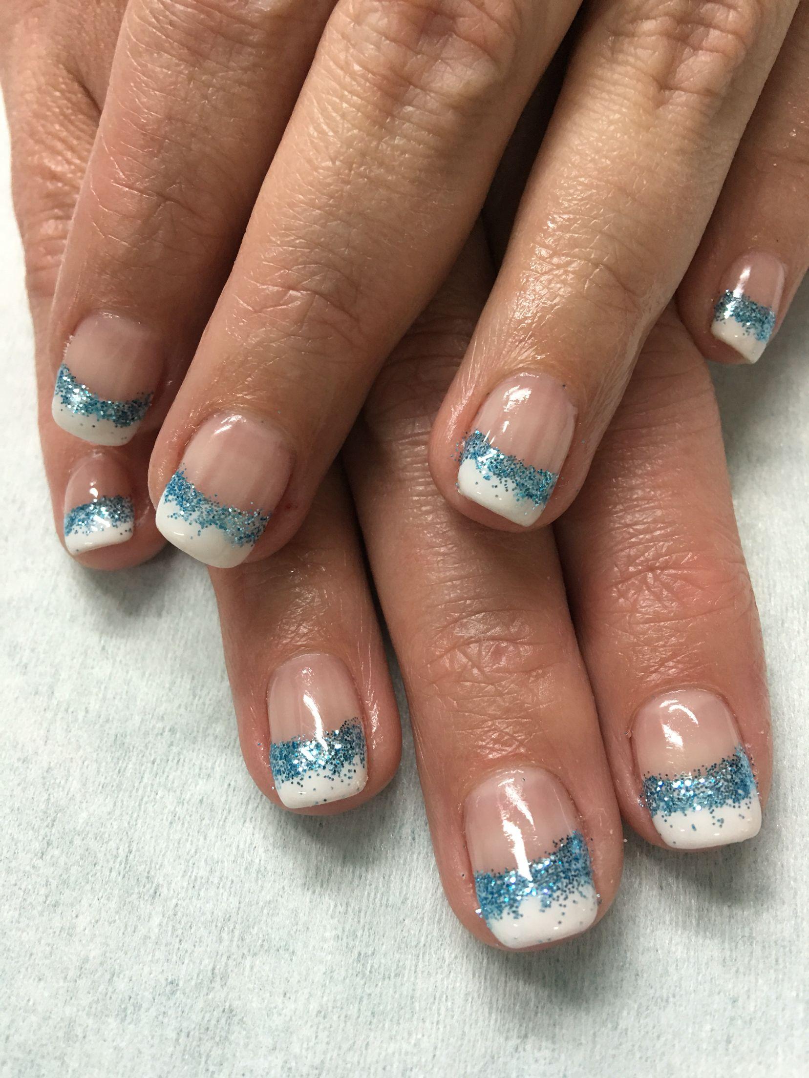 Aqua Glitter White French gel nails | Gel Nail designs | Pinterest