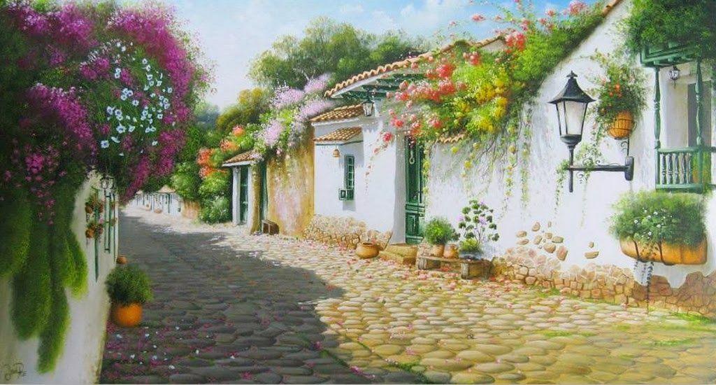 Paisajes Colombianos Oleo Galeria De Cuadros Pintura Em Telas Paisagem Casarios Pinturas Paisagens