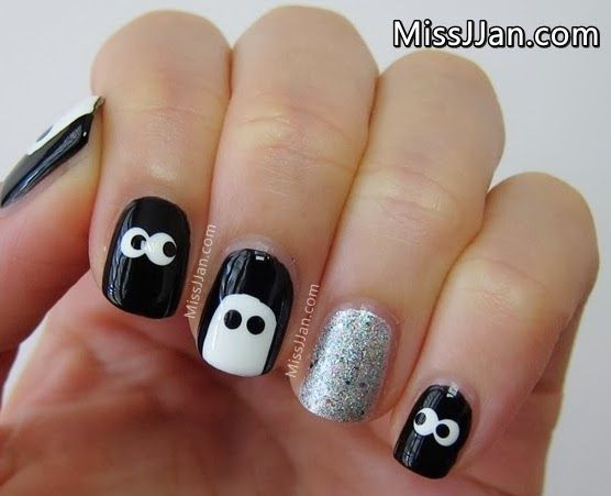 cute and spooky eyes ghost nail art halloween tutorial - 25 Spooky & Simple Halloween Nail Art Ideas Tutorials, Eye And Fun
