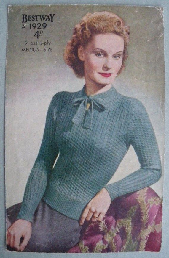 10b0f138694957 RESERVED RESERVED Vintage 1940s Knitting Pattern - Ladies  Jumper ...