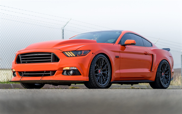 Download wallpapers Ford Mustang 2018 V FF 107 Graphite orange