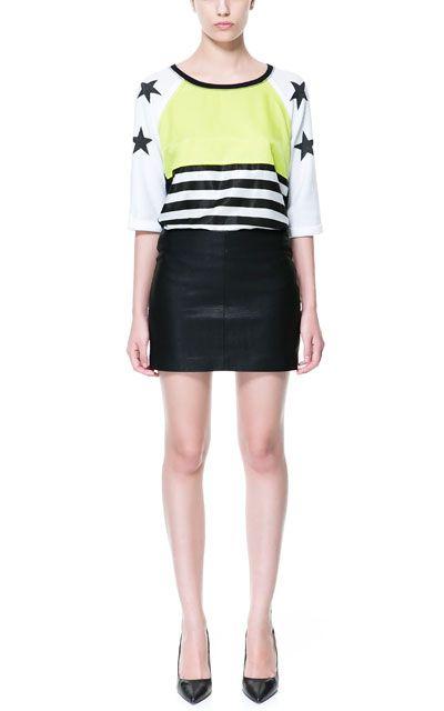 Leather Effect Skirt Skirts Trf Zara United States Falda Efecto Piel Faldas Zara