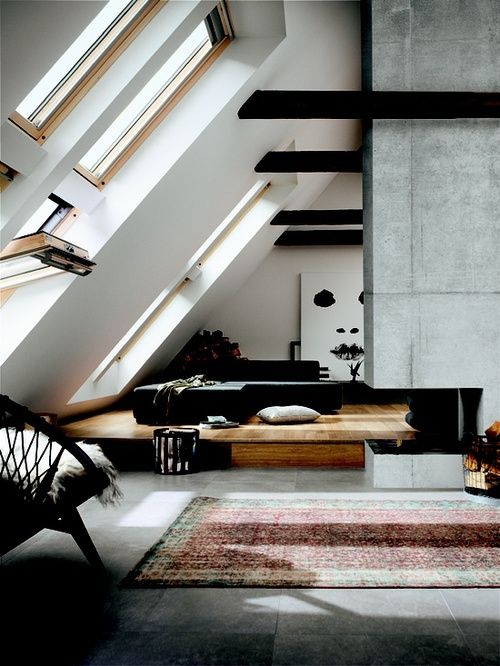Modern loft Home Ideas Pinterest Dachausbau, Dachgeschosse und - umbau wohnzimmer ideen