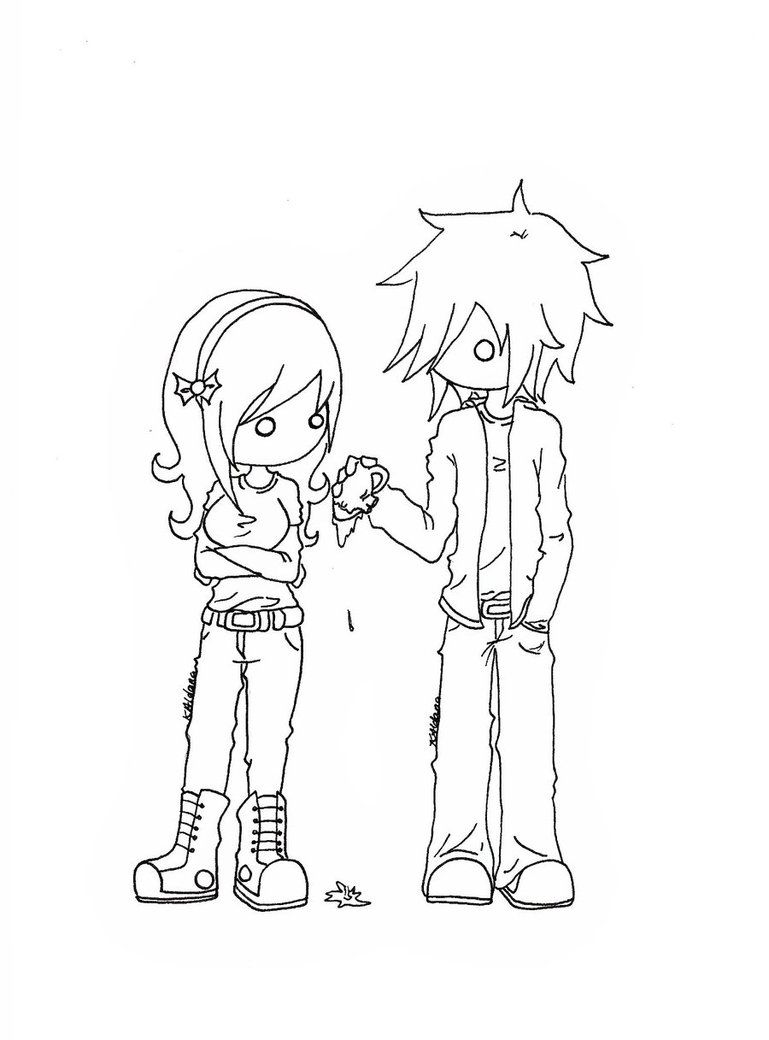 Anime Emo Girl Colouring Pages Cartoon Coloring Pages Coloring Pages Emo Couples
