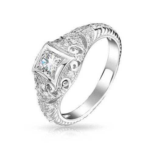 Bling Jewelry 925 Sterling Silver Art Deco Style CZ Solitaire Engagement Ring Vintage Style Milgrain Bling Jewelry http://www.amazon.com/dp/B00EZ6WVVG/ref=cm_sw_r_pi_dp_sfarwb1725GQP