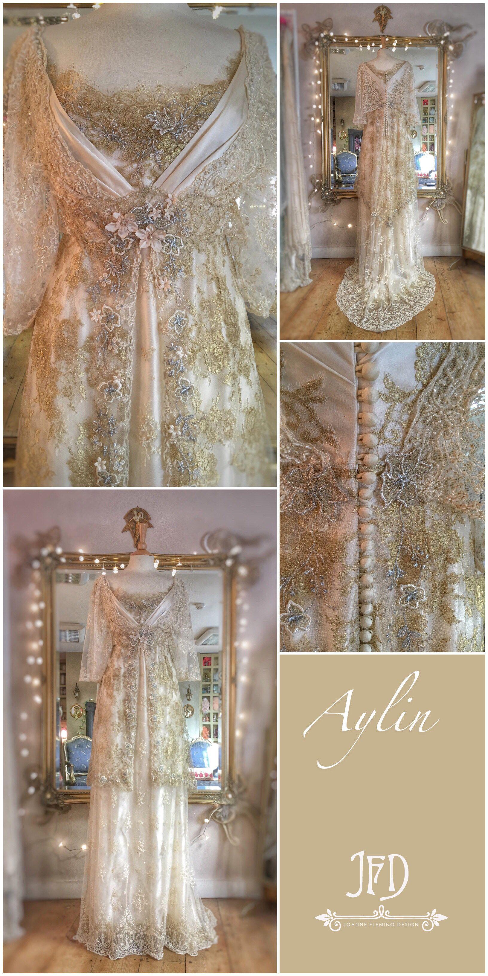 Hellgold Creme Seide Edwardian inspiriert Brautkleid