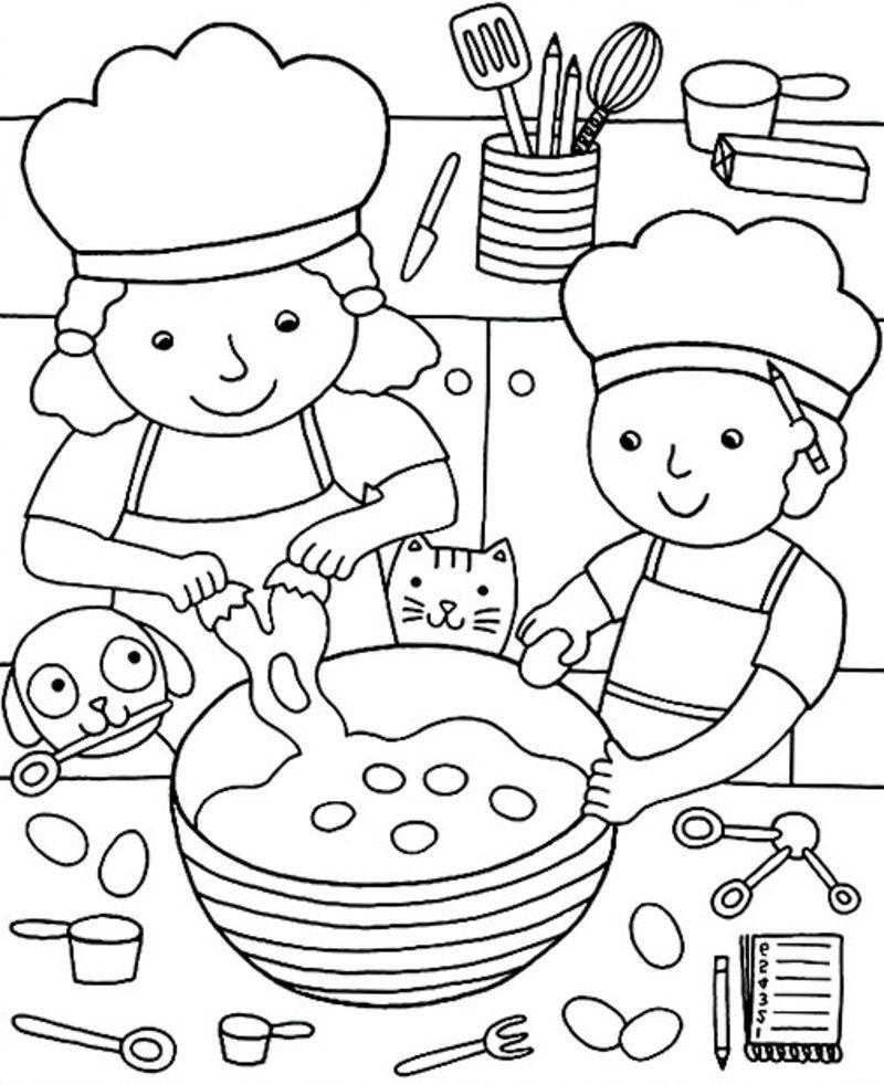 Coloriage Garderie Ecole.Coloriage Faire Des Crepes Coloriage Coloriage Enfant
