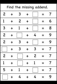 Missing addend - 4 worksheets | Printable Worksheets | Pinterest ...
