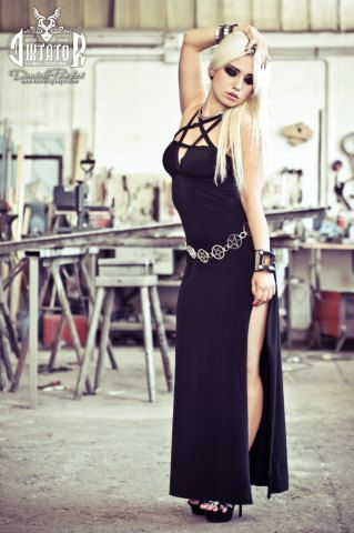 Black Pentagram Cleavage Evening Dress by DiktatorFashionLab ... 5bfb7c979