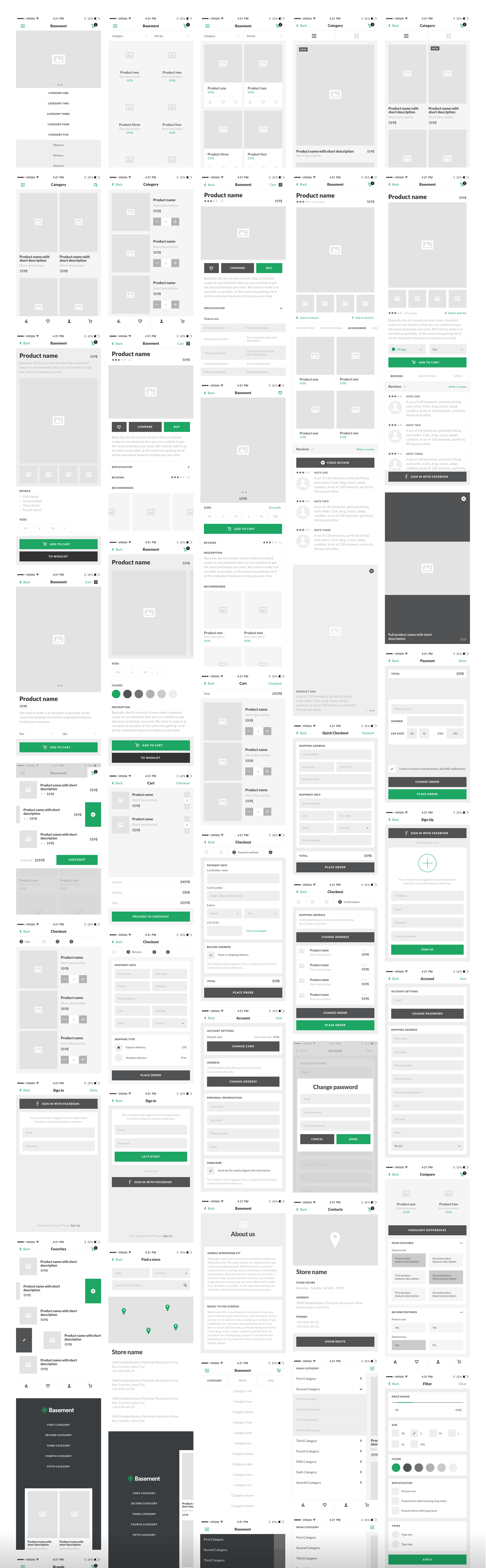 Ecommerce  50+ expertly crafted screens in five categories: Feed, Product Cards, Cart/Checkout, Navigation, Miscellaneous