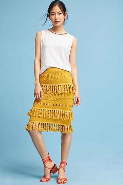 84bba39210ec Harlyn Tiered Fringe Pencil Skirt | Cute stuff to wear | Skirts ...