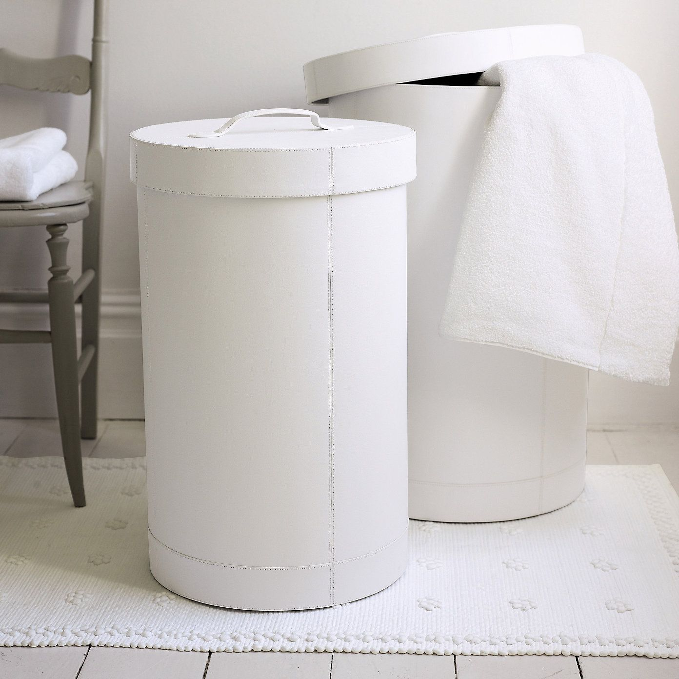 White Leather Laundry Bins - Bathroom Accessories | The White ...
