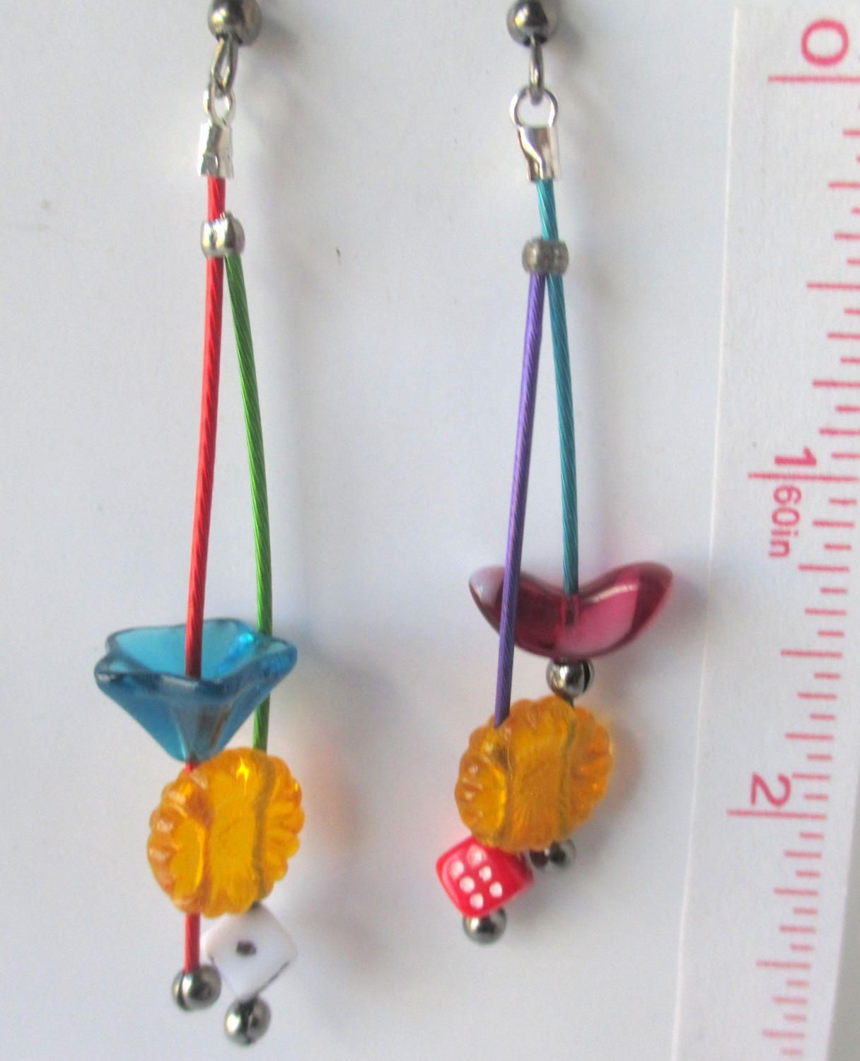 Candy, dangles,dice, turquoise, red, blue, green, purple,mobiles, unmatched steampunk, fun, colorful and contemporary by Lindatwist on Etsy