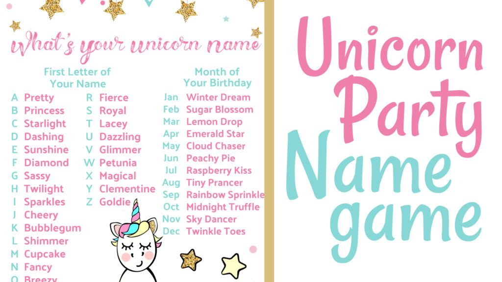 Unicorn Party Name Game - Party names, Unicorn party, Unicorn themed birthday party, Unicorn names, Unicorn themed birthday, Kids themed birthday parties - If your little one is wanting a unicornthemed birthday party, then this Unicorn Party Name Game printable and name tags are a must! Free for a limited time