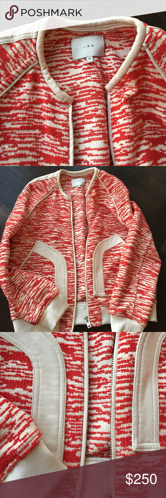 Iro tweed and leather bomber jacket The cutest! Cream and red bomber jacket , leather detail. Perfect condition ! IRO Jackets & Coats