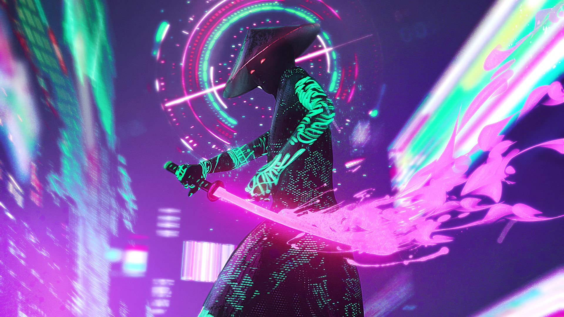 Can Someone Please Make This Wallpaper Higher Resolution Or Maybe Find The Original Gaming Wallpapers Samurai Wallpaper Neon