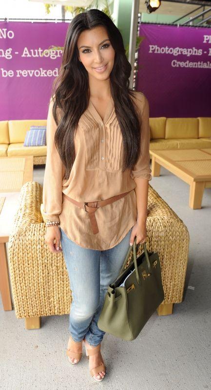 Kim Kardashian wearing Hermes Birkin Bag in Vert Veronese Pierre Hardy Strappy Sandals J Brand Krys Baggy 10 Ankle Skinny Jeans Zara BLOUSE WITH PLEATED SHIRT FRONT. Kim Kardashian Sony Ericsson Open March 28 2010.