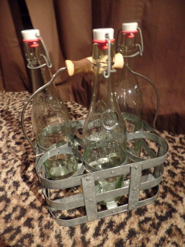 Metal Tin Milk Wine Bottle Six-Pack Carrier Holder + 3 Geyer 1895 Glass Bottles #Handmade