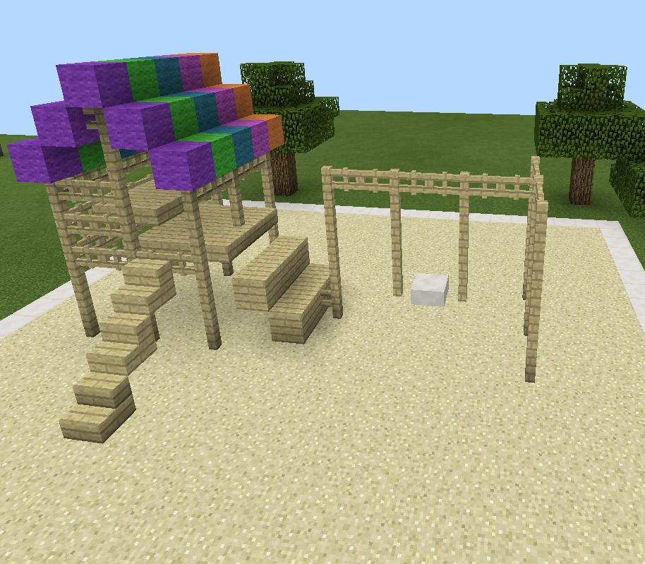 Minecraft Rainbow Playground Swing Set Wood Minecraft For The Kids - Minecraft hauser schritt fur schritt