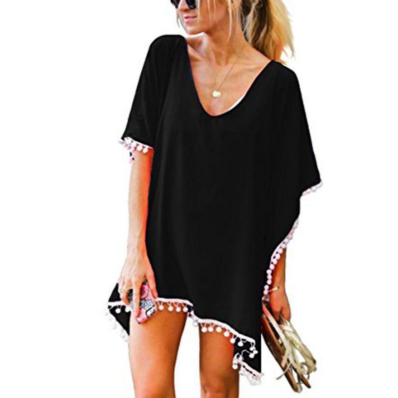 c5e6da85a6 Women's pom pom trim kaftan chiffon swimwear beach loose bikini cover up  sexy swim suit cover up 2018 tankini dress biquini #polyester #solid #fits  #true ...
