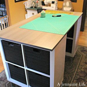 Craft Table: 5 Creative Ways To Make Your Own   Black Vinyl Woven Baskets  And A Wood Look Tabletop Give This Craft Table Plenty Of Style.
