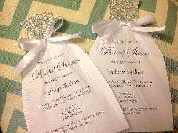 Diy Wedding Dress Bridal Shower Invitations Wetietheknots Bridalshower