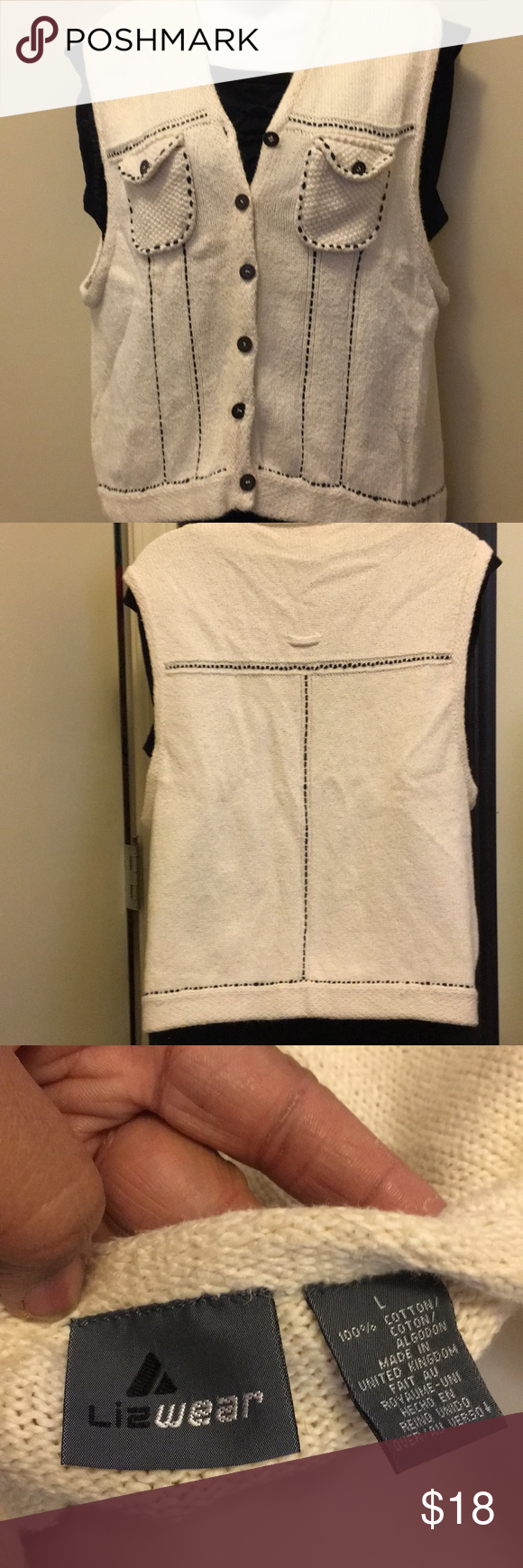 Liz Wear Sweater Vest 100% Cotton Size Large | Liz claiborne ...