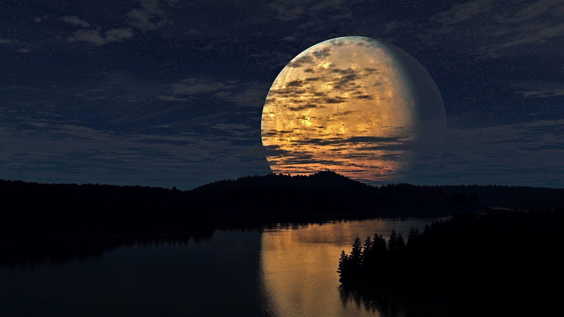 Night Moon River Scenery Wallpaper In 1920x1080 Night Sky Moon Sky Moon Beautiful Moon