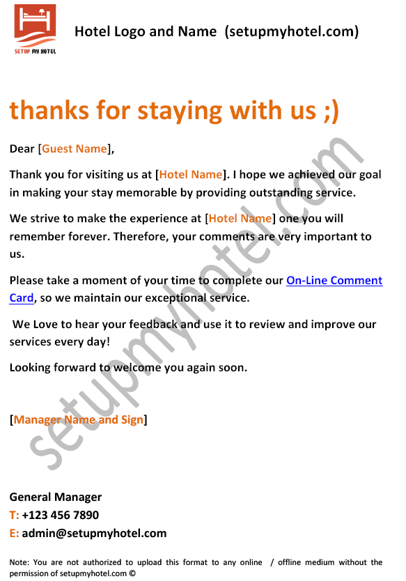 Sample thank you letter for accommodation image collections letter pin by setupmyhotel on sample hotel guest formats pinterest 10 thank you notes to boss free expocarfo Gallery