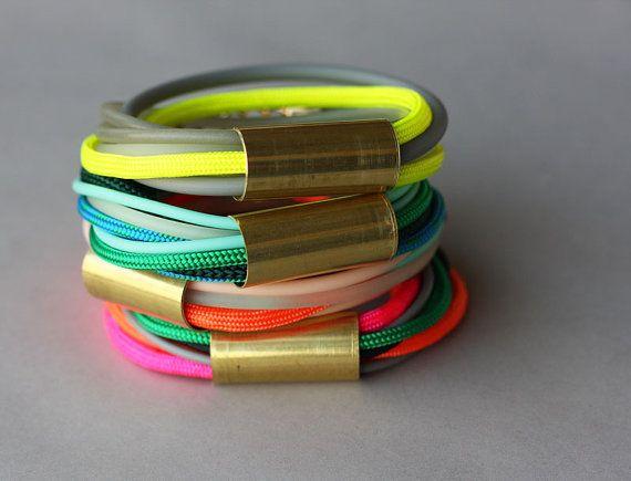 Cord Bracelet Gold Charm Bracelet Rope Bracelet by feltlikepaper