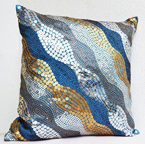blue throw pillow covers with silver copper sequins. Black Bedroom Furniture Sets. Home Design Ideas