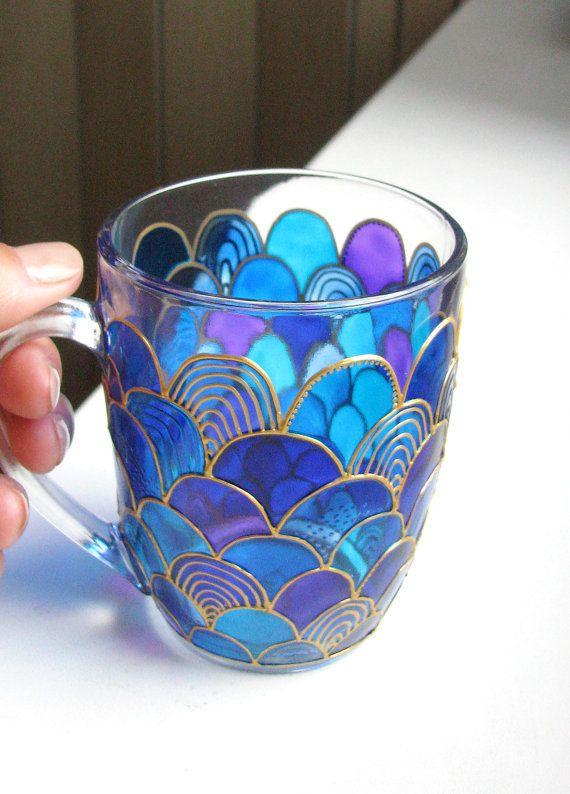Glass Mermaid Mug Hand Painted Mug Coffee Mug Tea Cup By
