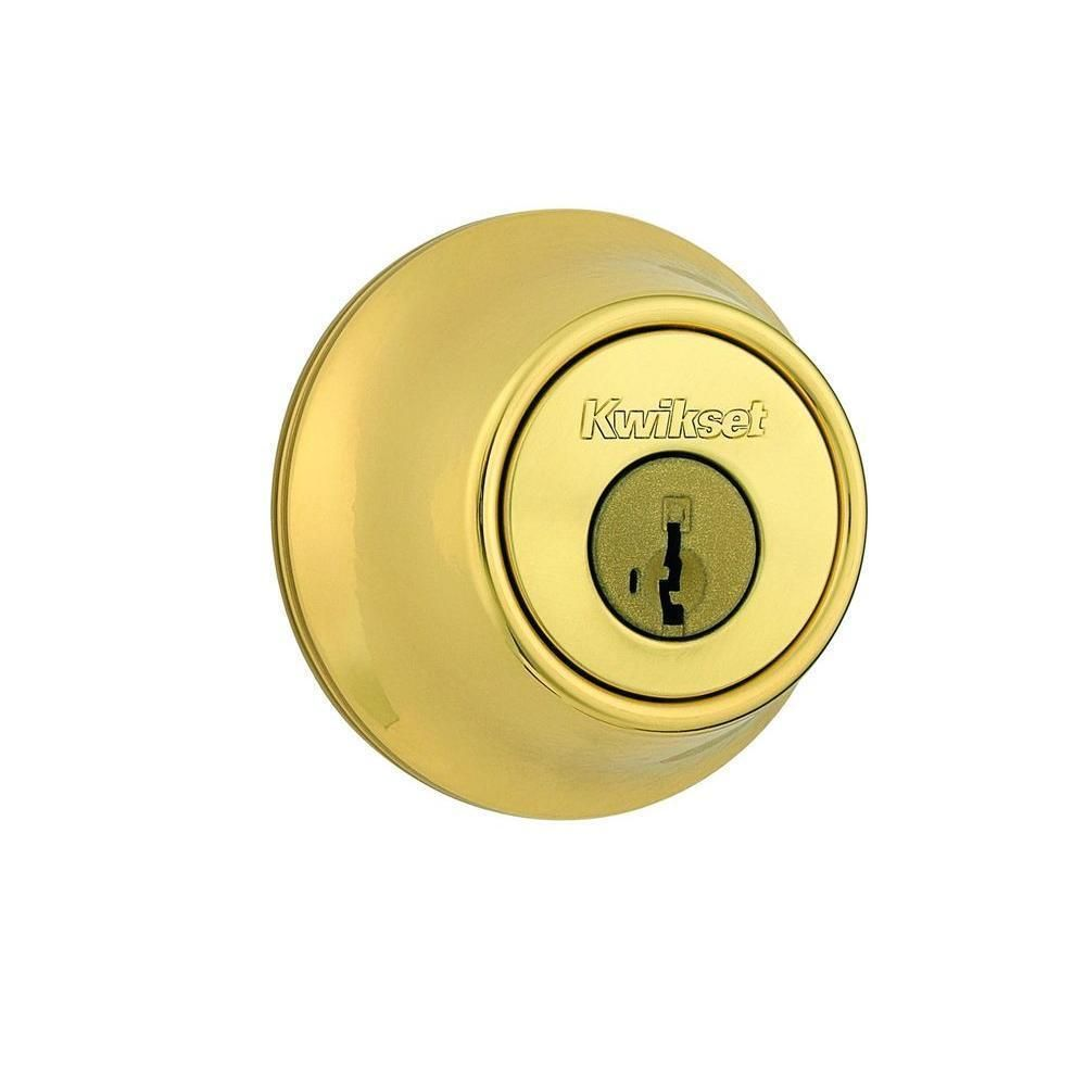 Kwikset 660 Single Cylinder Polished Brass Deadbolt Featuring SmartKey, Grey metal