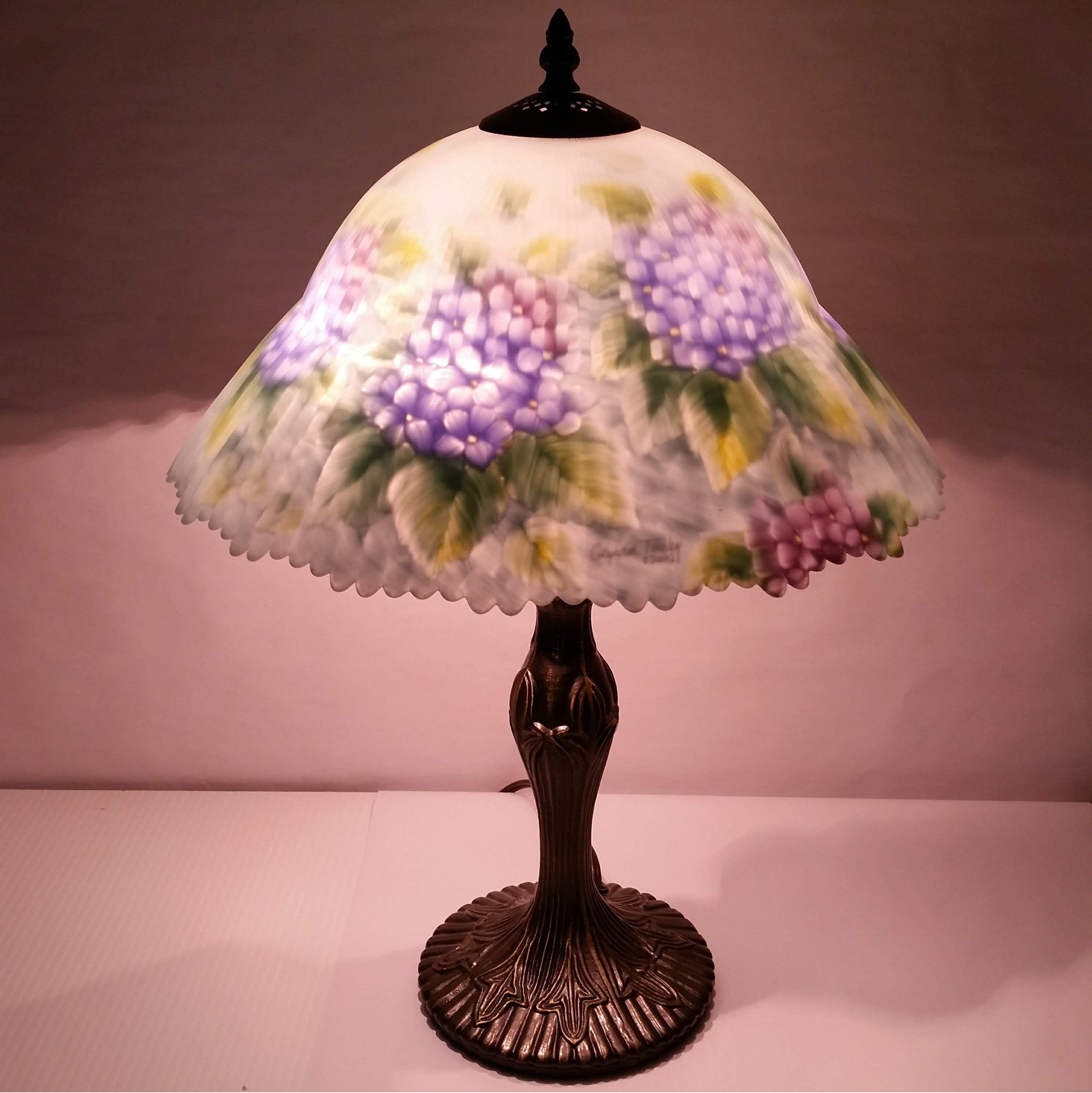 Sold Tiffany Lamp Glynda Turley Reverse Painted Hydrangea Glass