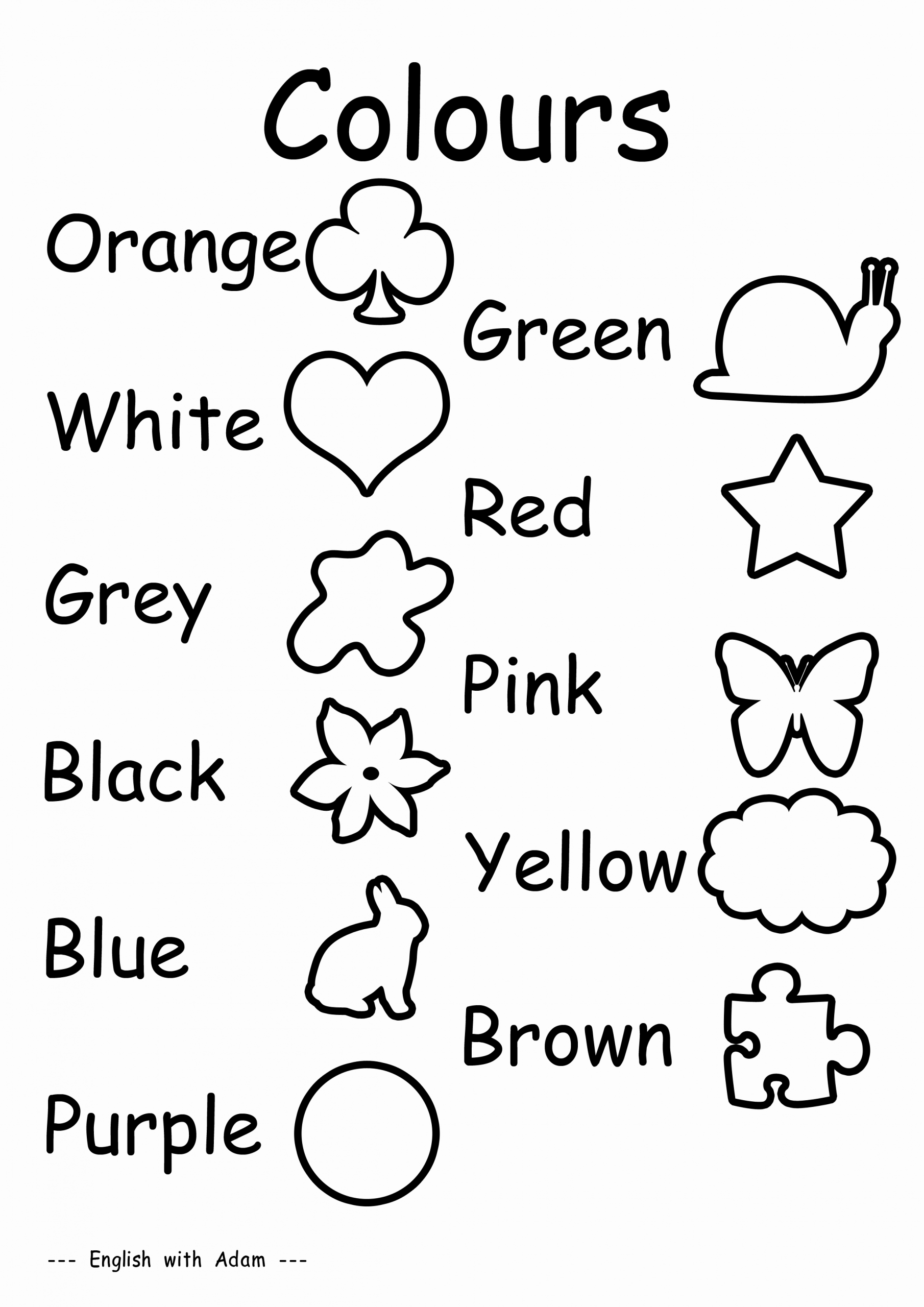 Worksheet Colour In English