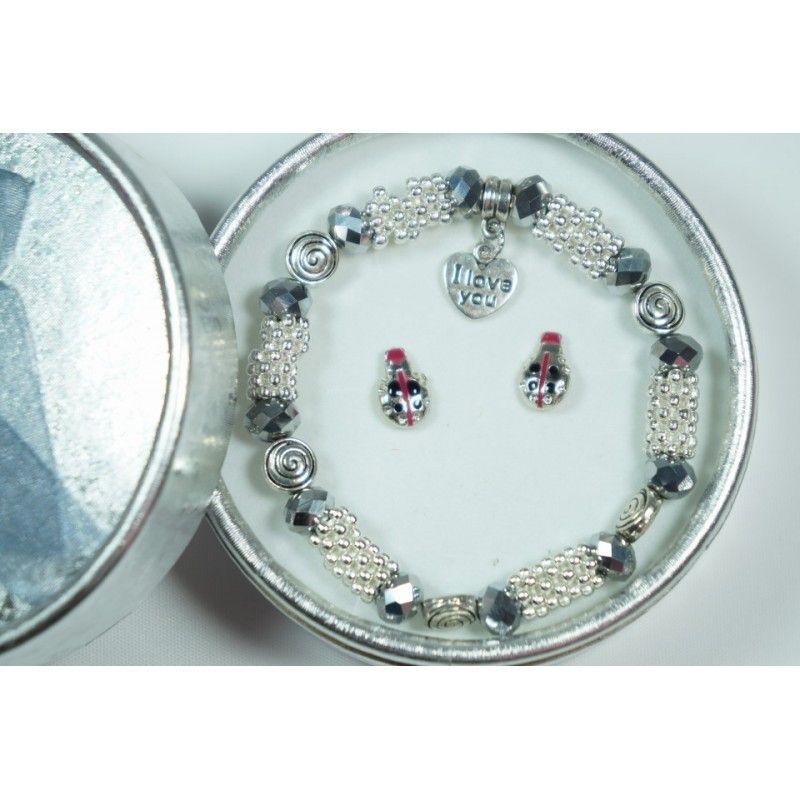 Conjunto Pulsera Zamak Diseño Corazón con Pendientes Fantasía - Ideas de regalos ros