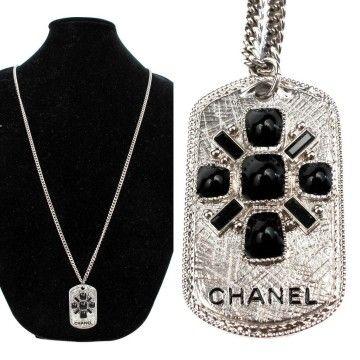 Chanel Dog Tag Necklace - Black Crystal Silver Logo Gripoix Glass Gem Bead Charm