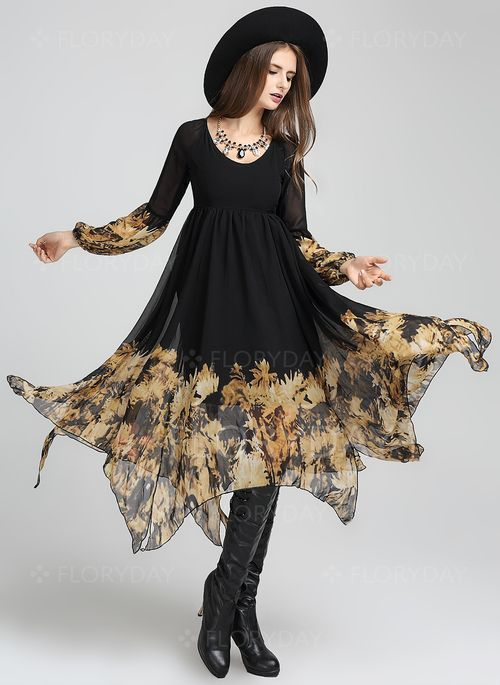 Dresses - $52.50 - Cotton Polyester Color Block Long Sleeve Maxi Casual Dresses (1955098746)