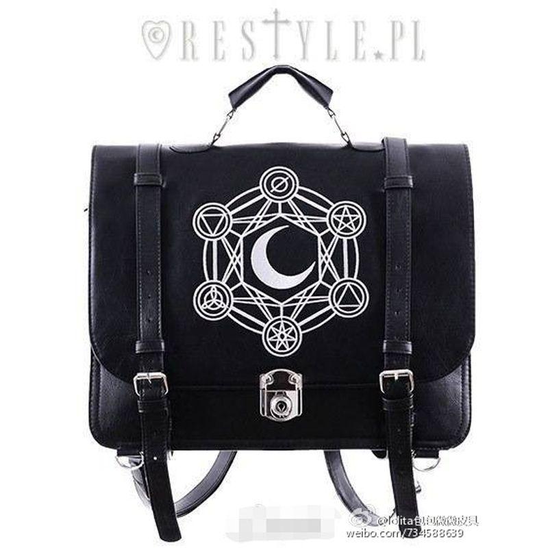 Restyle Luna Full Moon Print Convertable Round Handbag