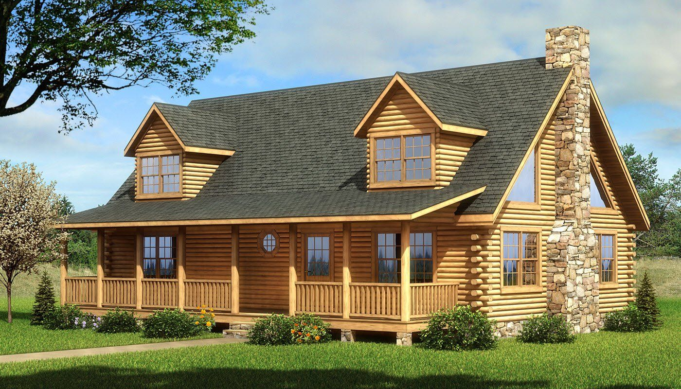 Coosa Front Elevation Southland Log Homes