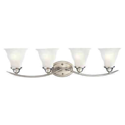 Photo of Progress Lighting Trinity 33.25 in. 4-Light Brushed Nickel Bathroom Vanity Light …