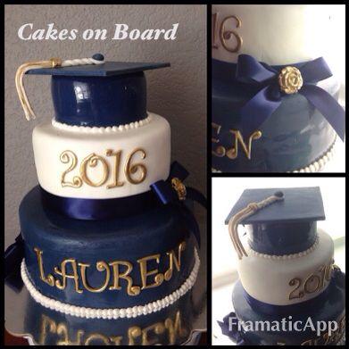 Graduation Cake Royal Blue White Fondant Gold Lettering Tassel