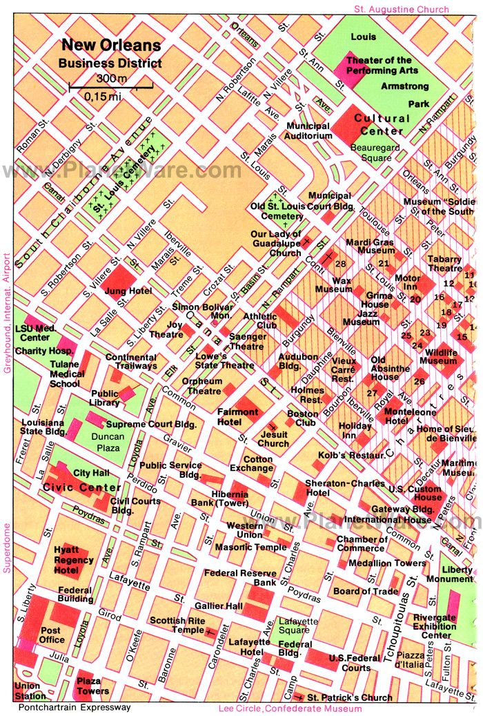 New Orleans Business District Map Tourist Attractions