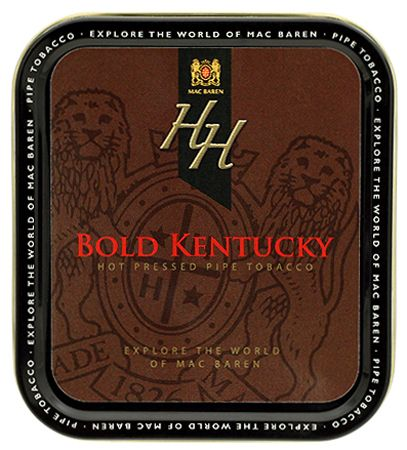 Mac Baren HH Bold Kentucky 1.75oz The strongest blend in the HH line, Bold Kentucky contains a high amount of the finest Dark Fired Kentucky from the USA and Africa, combined with bright Virginias to soften the taste just a bit. Still earthy and smoky, the Dark Fired takes center stage, with a slight nuance of sweetness. It's all married in a hot press for one unique taste. Like all the other HH blends, this blend has only an absolute minimal casing and no top flavor at all.