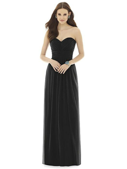 Black Floor Length Bridesmaid Dress