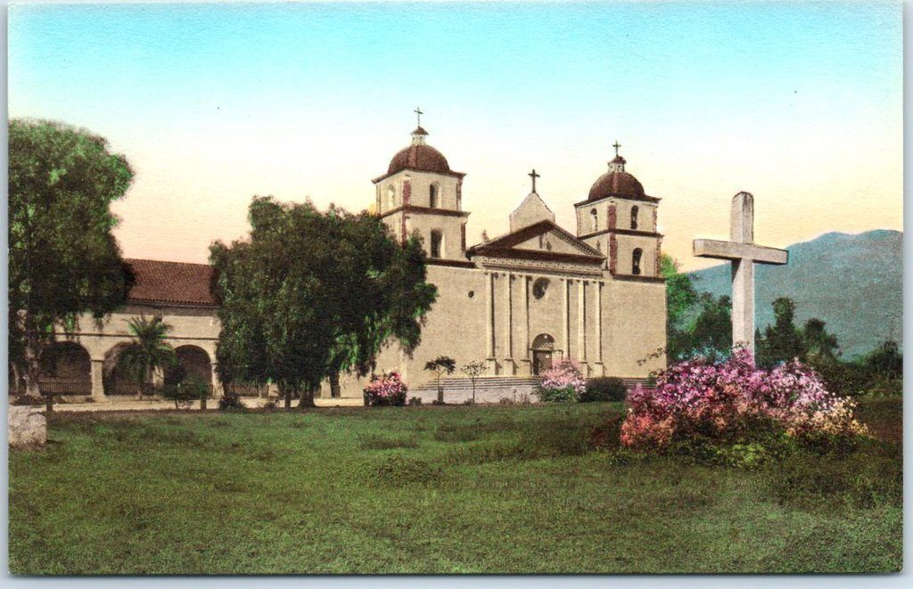 santa barbara mission ca 1930 california missions santa barbara mission hand coloring