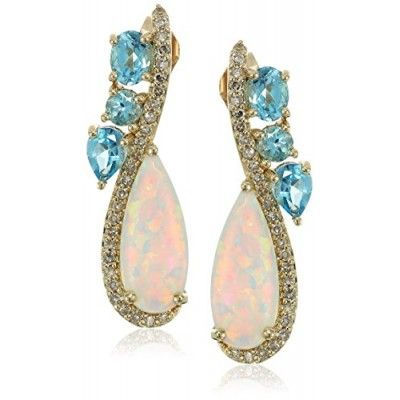 10k Yellow Gold Pear Shaped Created Opal and Swiss Blue Topaz with Diamond Accent Drop Earrings (1/10cttw, I-J Color, I2-I3 Clarity)