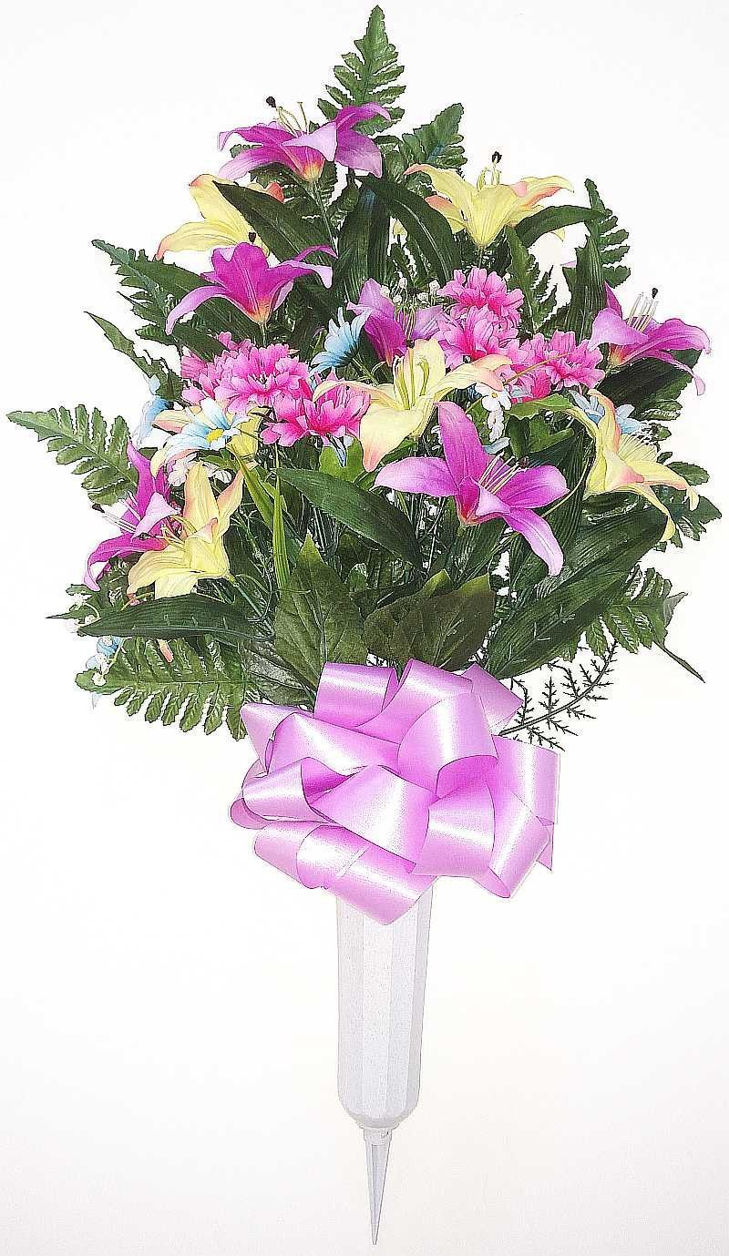 Tiger lily cemetery vase with pinklight blueyellow flowers 28 tiger lily cemetery vase with pinklight blueyellow flowers 28 inch reviewsmspy